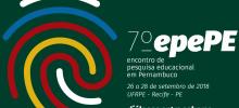 Cartaz com logomarca e informações de local, data e tema do encontro pernambucano de pesquisa educacional