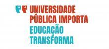 logo da campanha com o título Universidade pública importa, educação transforma