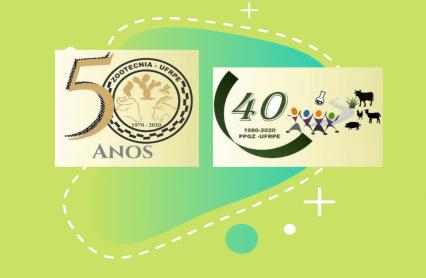 imagem com as duas logos comemorativas dos 50 anos de Zootecnia e 40 anos da pós-graduação