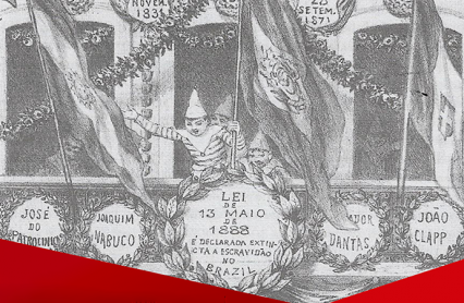 Imagem histórica em tons de cinza com personagens e cartazes sobre a abolição da escravatura