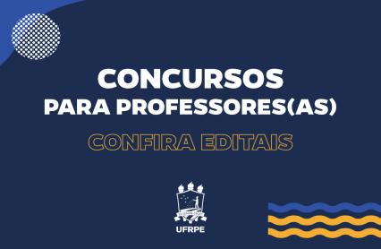 cartaz com fundo azul marinho e texto: concursos para professores, confira editais