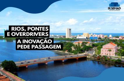 Cartaz com foto das pontes do Recife e rio Capibaribe